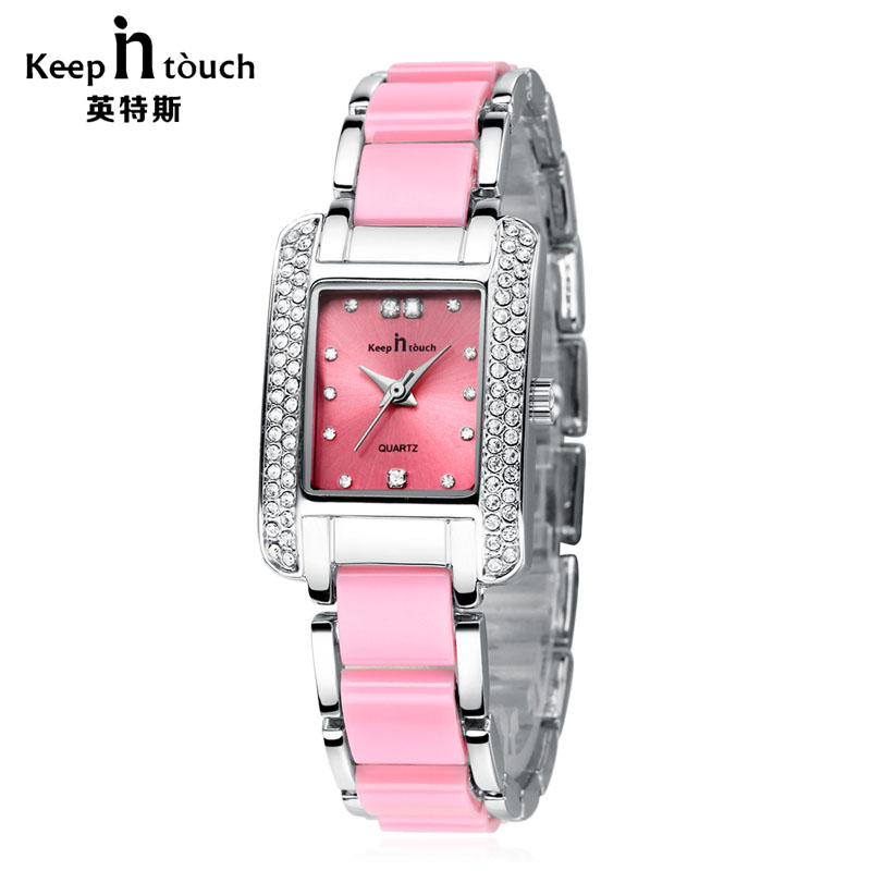 KEEP IN TOUCH Fashion Women Watch Quartz Pink Square Rhinestone Bracelet Ladies Watches Imitation Ceramic Band Femmes Montres gorgeous rhinestone square star bracelet for women