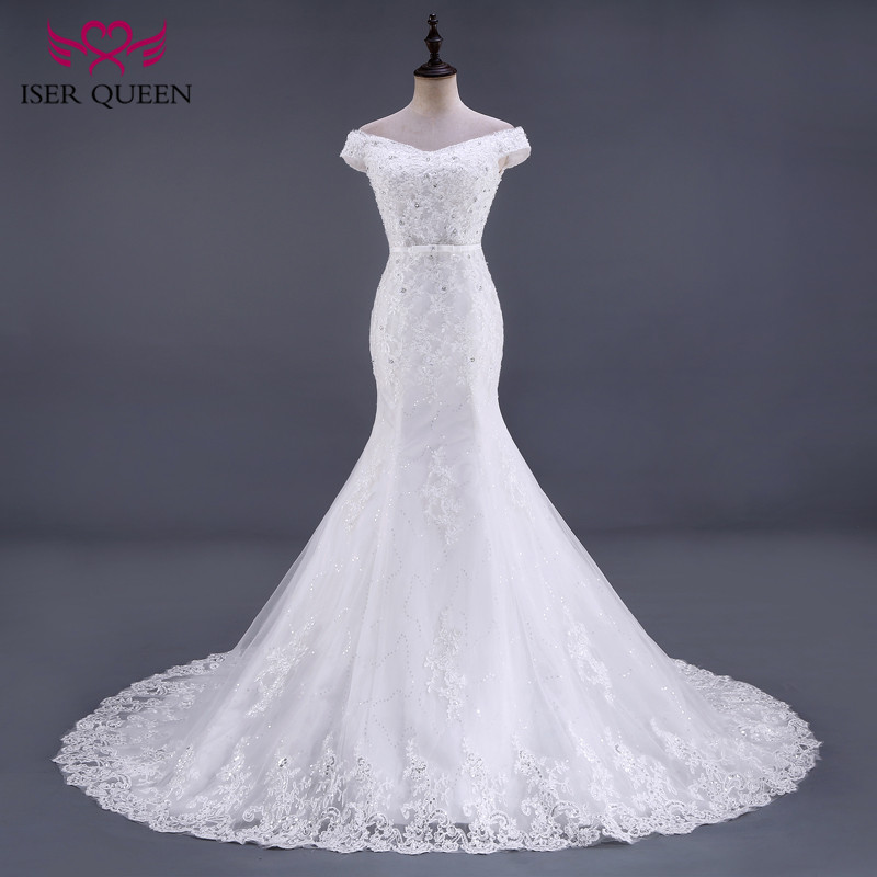 Short Cap Sleeve Crystal Beaded Elegant Mermaid Wedding Dress 2019 Lace Up Back Bright Lace Wedding Dresses Wedding Gowns WX0081