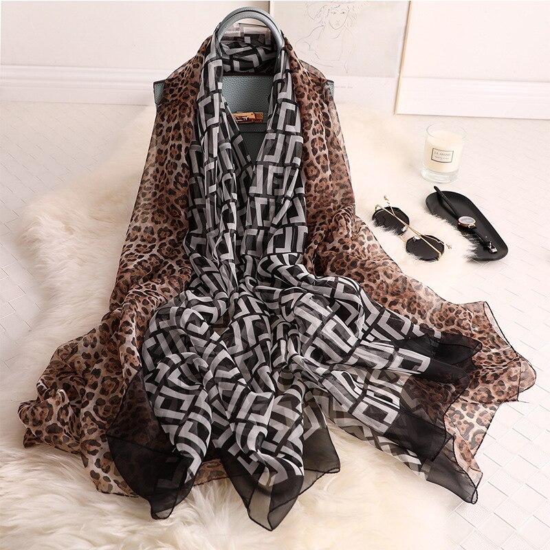 New 2019 fashion luxury brand silk   scarf   women floral Lady   Scarves   Shawls and   Wraps   Leopard print Pashmina Foulard Bandana Hijab