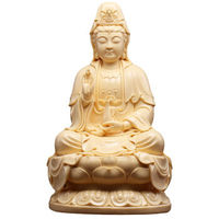 Fine ceramic crafts 14 inch Guanyin Buddha worship Guanyin sitting on the lotus Home Furnishing decoration color field Huangshi