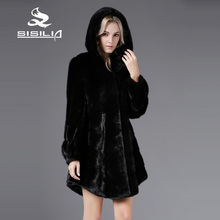 SISILIA 2016 New Fashion Winter Autumn Women's No Dyed Denmark Mink Fur Coat Long Style Coats Sable Fur Coat From Natural Fur