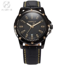 AGENTX Brand New Auto Date Display  Analog Relogio Black Gold Dial Quartz Leather Strap Clock Mens Business Wristwatch / AGX120