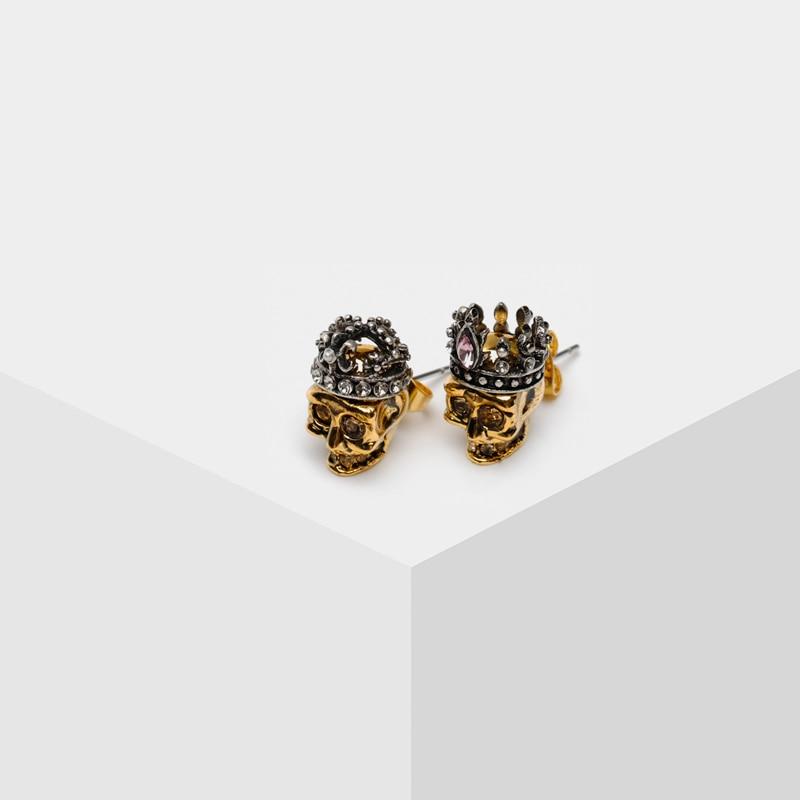King and queen skull earrings design stud