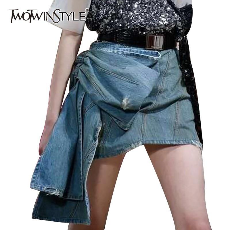 TWOTWINSTYLE Summer Denim Skirt For Women High Waist Bowknot Slim Mini Asymmetrical Skirts Female Fashion Clothes 2019 New