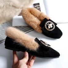 אישה חם שלג מגפי צמר עור אמיתי חורף נעליים שטוחות גבירותיי פרווה קרסול מגפיים בתוספת גודל Bee אופנה מוקסינים הנעלה חדש