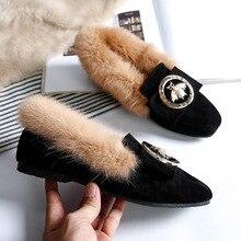 Stivali da neve caldi da donna scarpe basse invernali in vera pelle di lana stivaletti in pelliccia da donna Plus Size mocassini moda ape calzature nuovo