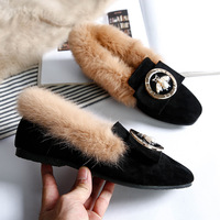 Woman Warm Snow Boots Genuine Leather Wool Winter Flat Shoes Ladies Fur Ankle Boots Plus Size Bee Fashion Moccasins Footwear New