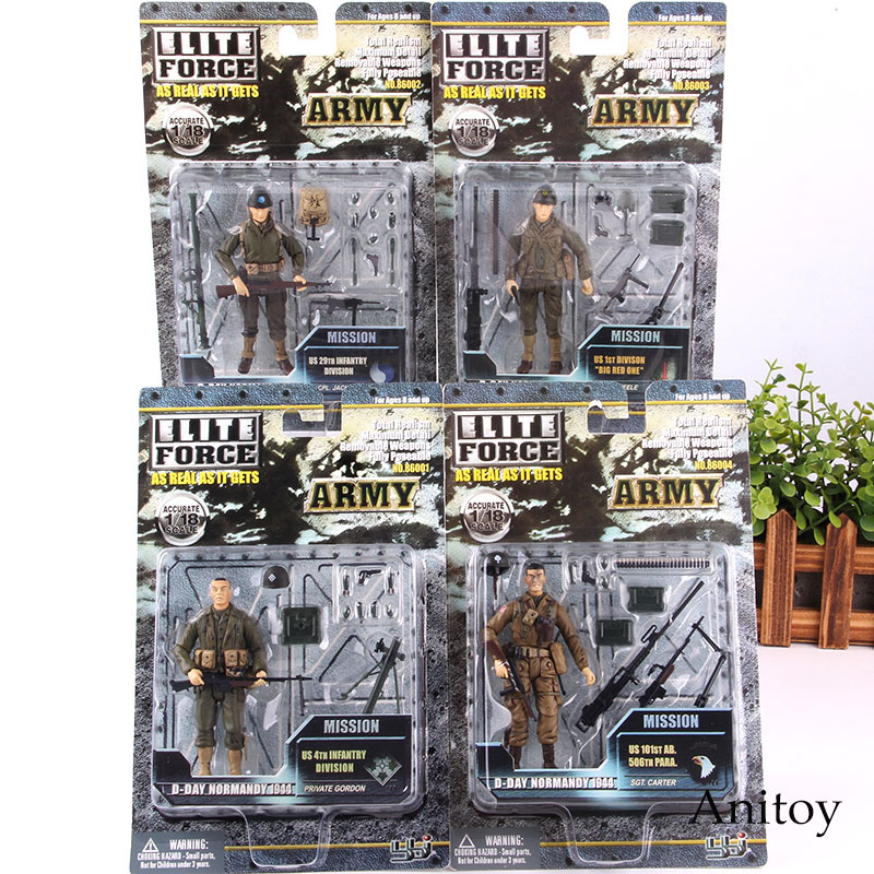 1944 Army Soldiers Action Figures With Weapons Elite Force 1:18 Military Toys Soldier Set PVC Collectible Model Toy 4pcs/set-in Action & Toy Figures from Toys & Hobbies    1