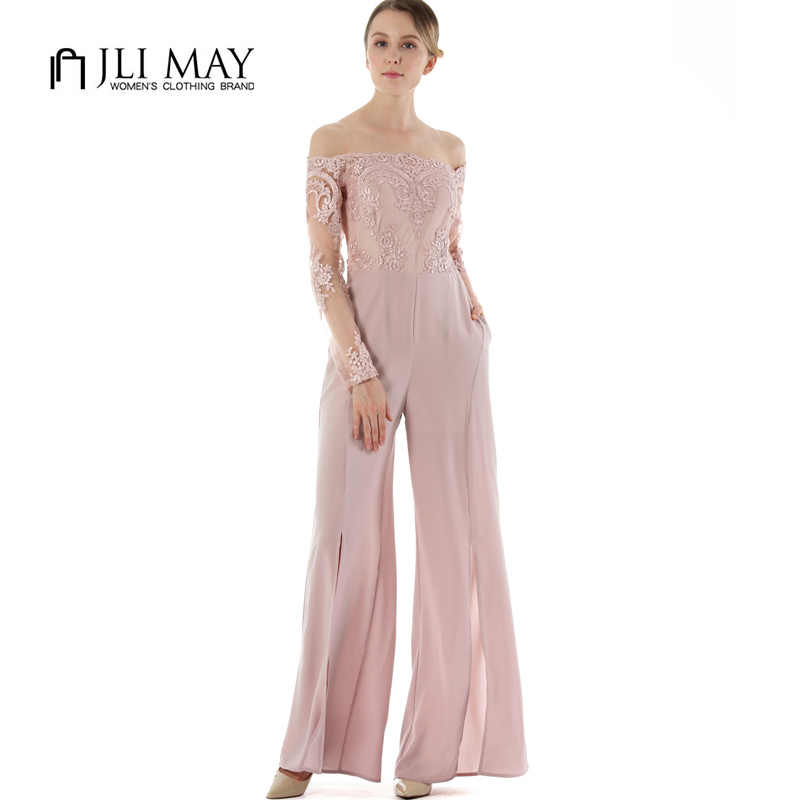 JLI MAY Elegant women jumpsuit long sexy work office ladies romper summer  autumn Lace Embroidery split f6b029ce053b