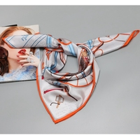 2018 Carriage Print Large Square Silk Scarf Shawl Wraps 100% Silk Twill Scarf Silk Head Scarves for Hair Wrapping 88x88cm