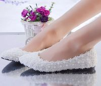 White Full Lace Wedding Shoes Woman Flat Heel Customized Handmade Romantic Lace Flower Bridesmaid Bridal Flats