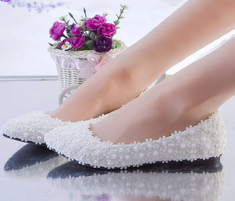 White full lace wedding shoes woman flat heel customized handmade romantic lace flower bridesmaid bridal flats shoes plus size extra large plus sizes 41 42 43 flats wedding lace shoes womens female woman bridal flat heel wedding flats shoes large sizes