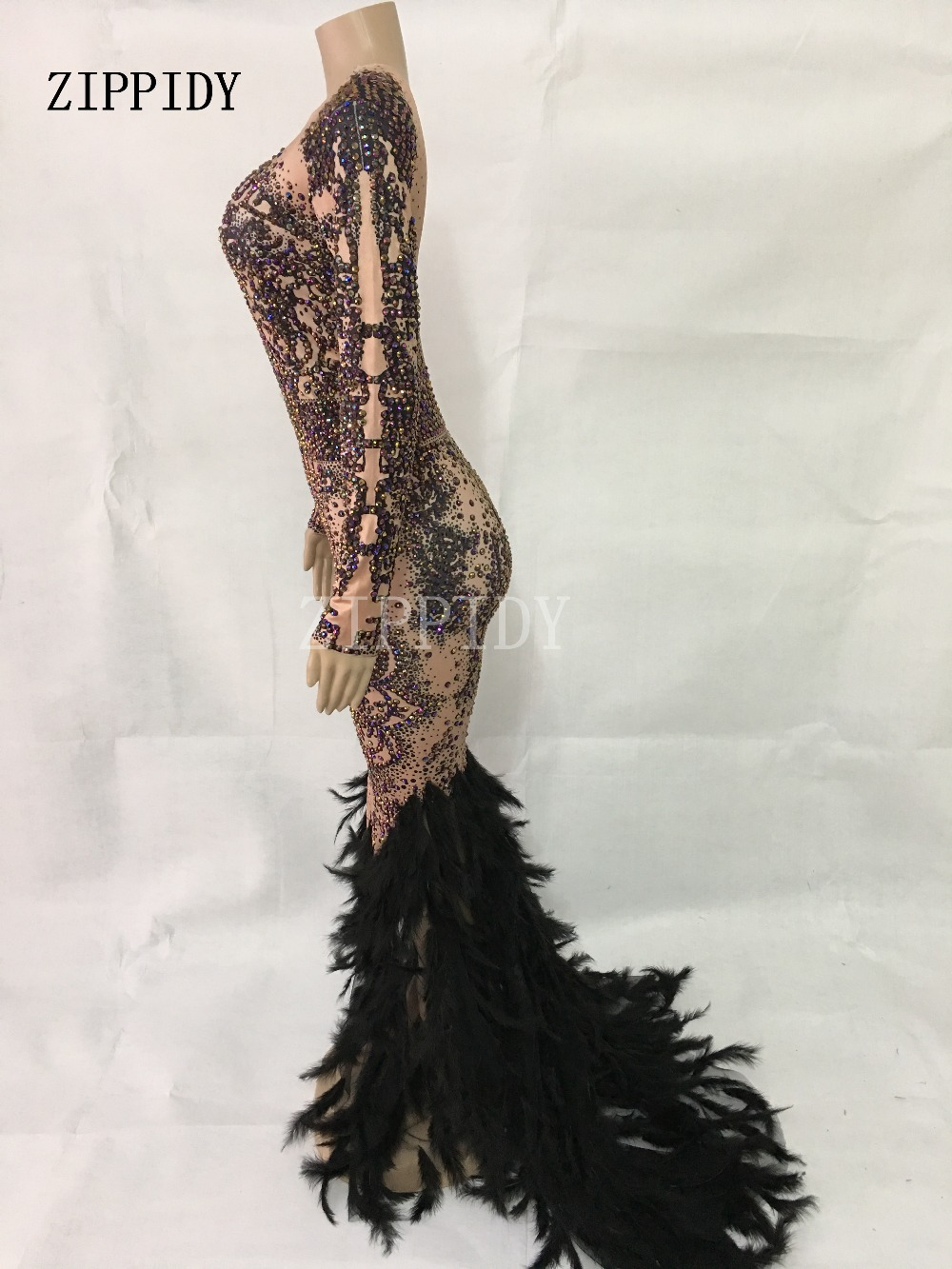 Sparkly Colorful Rhinestones Black Feather Long Dress Glisten Full Stones Big Tail Dress Costume Prom Birthday Celebrate Dress in Chinese Folk Dance from Novelty Special Use