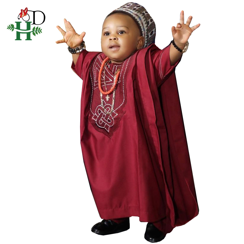 H&D No Cap African Children Clothes Dashiki Shirt Pant 3 Pieces Set Son Boy Suits 2019 South Africa Kids Red Clothing TZ3062