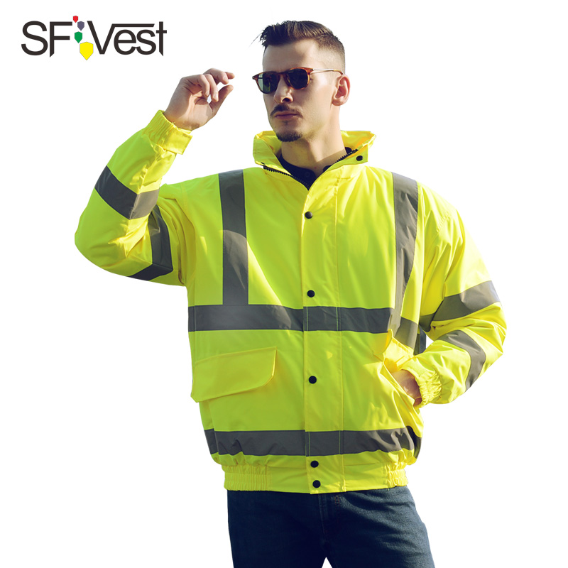 2017 Reflective bomber jacket men Safety Clothing Outdoor High Visibility Waterproof Rain Coat Warm Padded Work Wear for Winter