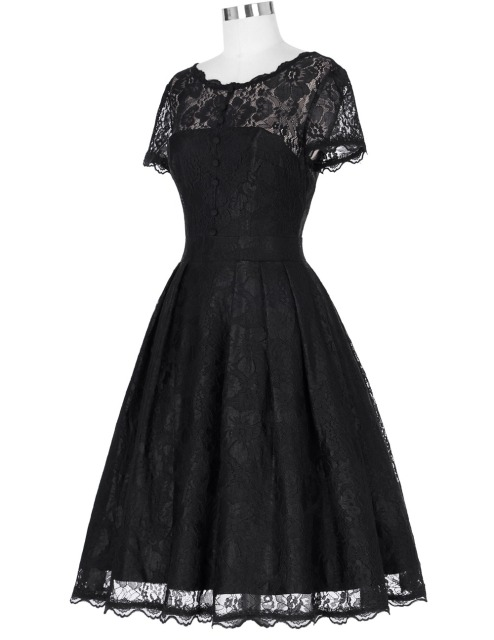 New Arrival Dresses Cap Sleeve Vintage Short Sleeve V-Back Lace Office Dress Casual Tunic 1950s Rockabilly Swing Summer Dress