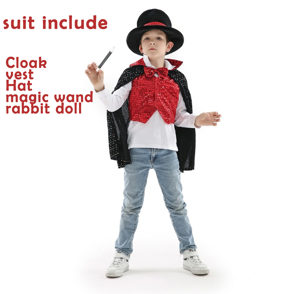 Magic Costume For Children Boy's New Year Carnival Costumes Halloween Magician Cosplay Costume Performance Clothing 5 in 1