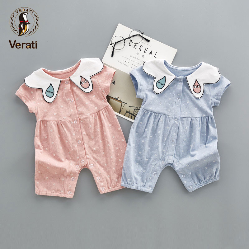 VERATI 2018 Summer New Cute Doll Collar Baby Girls Onesie Short-sleeved Floral Baby Girl Romper Cotton Baby Soft Overalls V057
