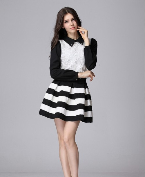 Aliexpress.com : Buy Slim women's black and white stripe bust ...