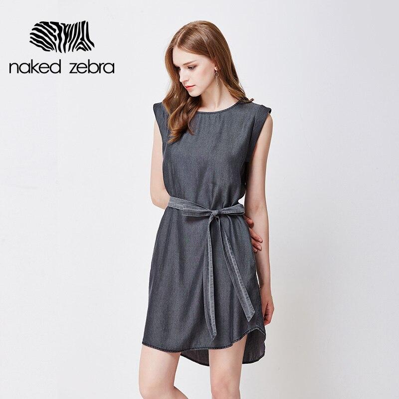 Naked Zebra Lady Dress Sashes Pure Color Sleeveless -3405
