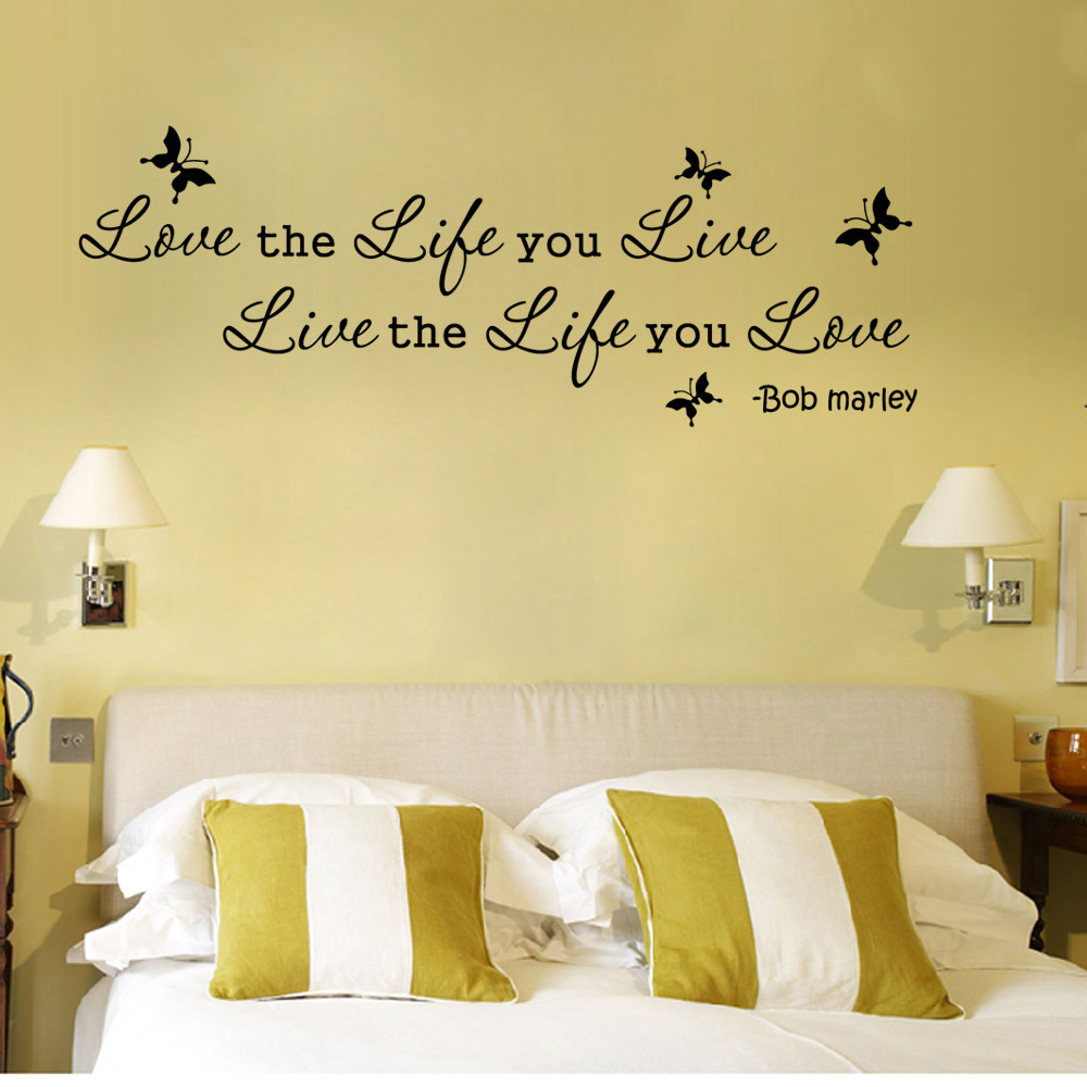 Creative Love Life Live Proverbs Wall Sticker Bedroom Living Room ...