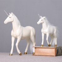 Nordic home furnishings European Unicorn white horse ornament retro old process resin crafts living room office decoration