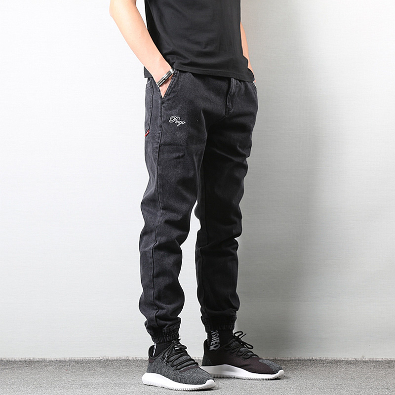 Japanese Style Fashion Men's Jeans Black Color High Street Loose Fit Cargo Pants Elastic Ankle Banded Hip Hop Jogger Jeans Men