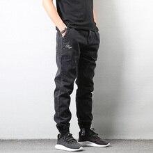 Japanese Style Fashion Mens Jeans Black Color High Street Loose Fit Cargo Pants Elastic Ankle Banded Hip Hop Jogger Men
