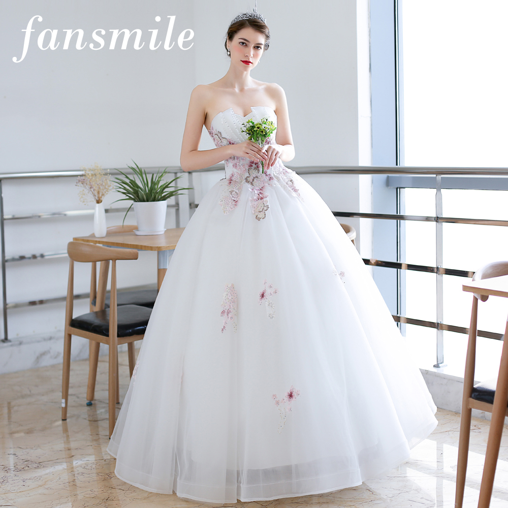 2019 Wedding Ball Gowns: Fansmile White Vestido De Noiva Ball Gown Wedding Dress