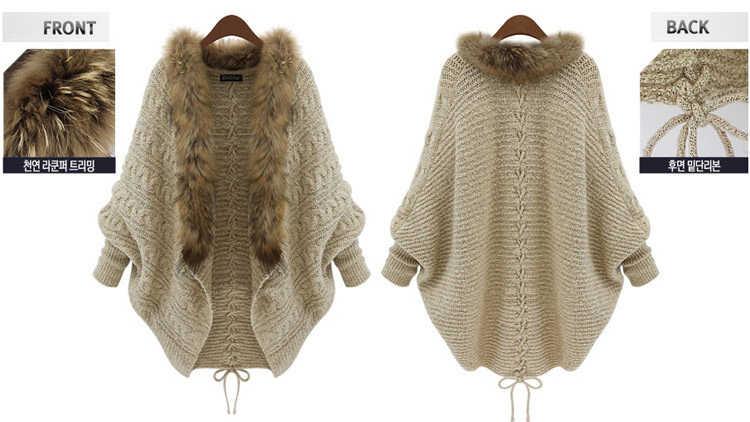 NiceMix 2019 delle donne del busto sciolto collo di pelliccia maglione del batwing completa del manicotto di inverno delle donne del manicotto del blocco cardigan in maglia sciarpa maglioni gocce