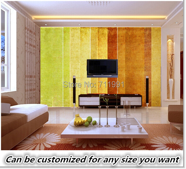 Free shipping custom Lovely Earthy Texture Stripped Wall Mural ...