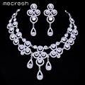 Mecresh Lindo CZ Rhinestone Cristal Nupcial Do Casamento Conjuntos de Jóias de Prata Incluindo Colar e Brincos para As Mulheres TL049