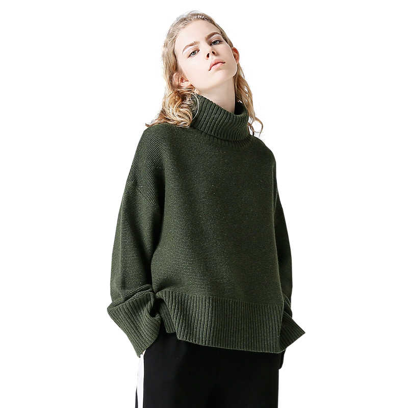 Toyouth Turtleneck Winter Knitted Sweater Women Flare Sleeve Loose Gray Pullover Female Soft Warm Autumn Casual Jumper Tops