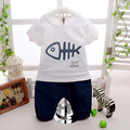 2016 Summer New Baby boys Clothing set O-neck Fishbone Pictures short Cotton 100% baby sets clothes