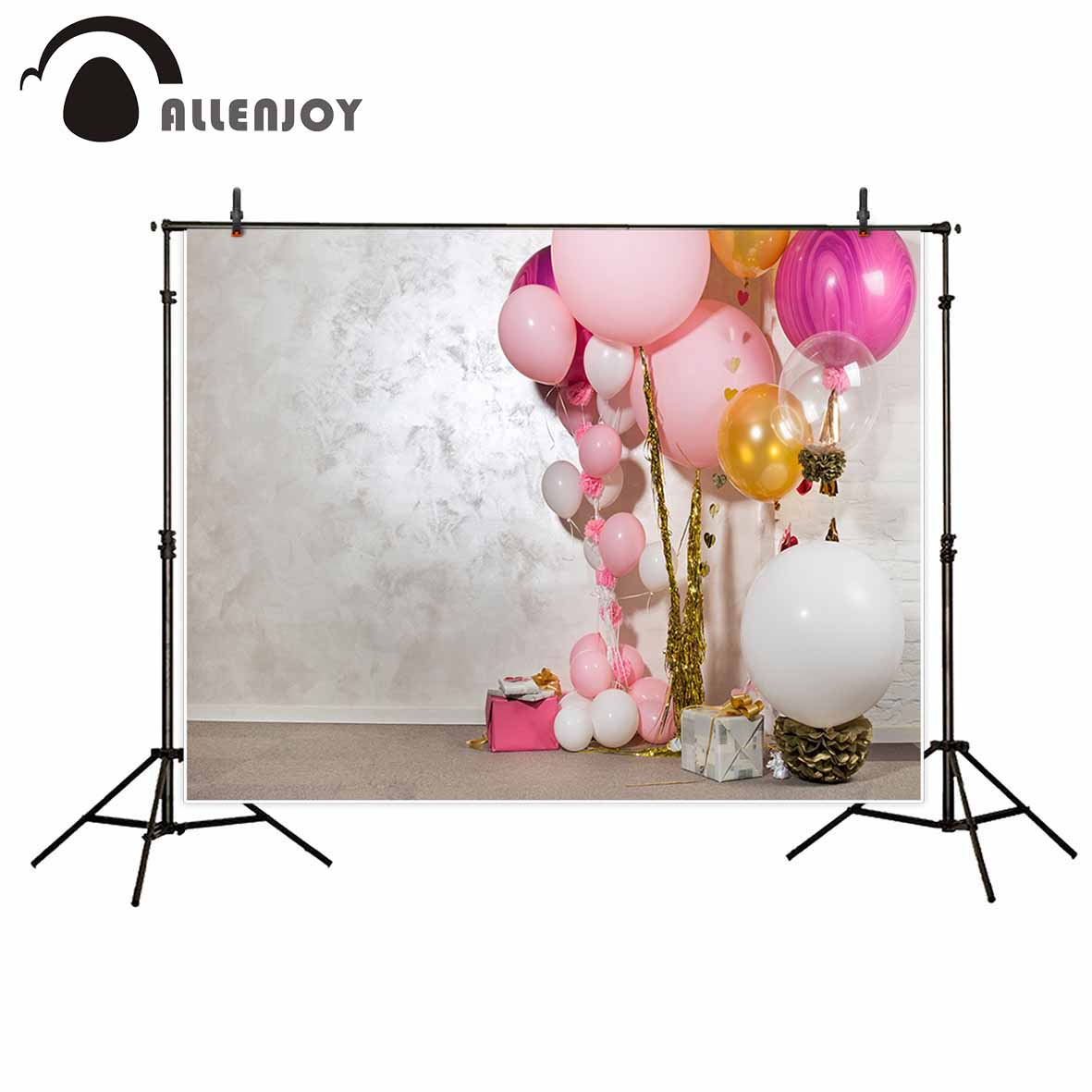 Allenjoy pink balloons girl decoration indoor photo backdrop white wall floor children gifts baby shower photography background allenjoy photography backdrop brick wall wooden floor white baby shower children background photo studio photocall
