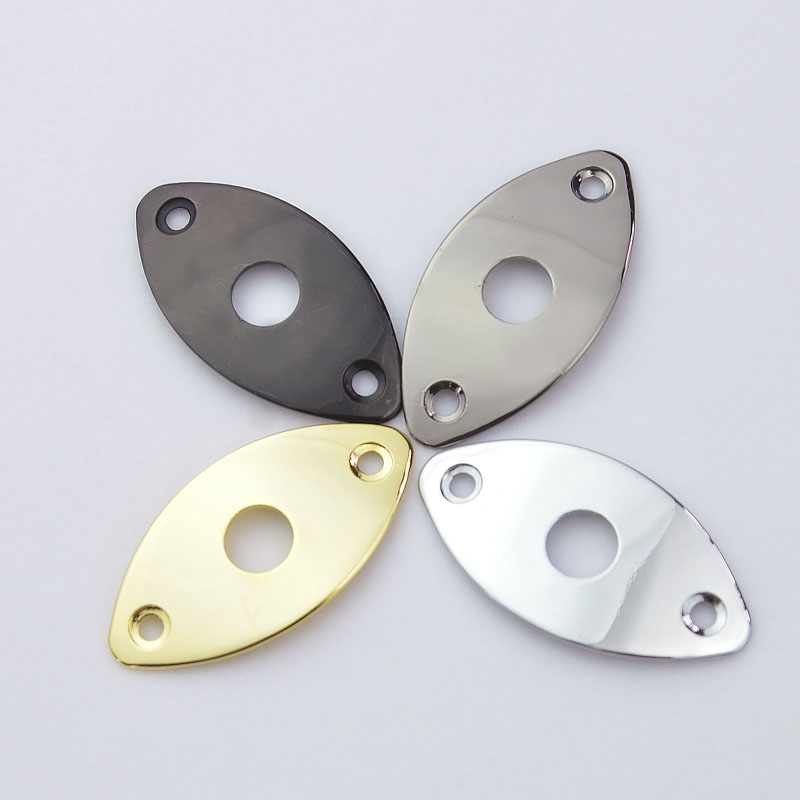 1 Piece GuitarFamily  Oval Curved  Metal Jack Plate For Electric Guitar  Bass  ( #0424 ) MADE IN KOREA