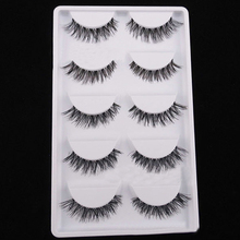 5 Pairs  Black  Cosmetic Cross False Eyelash Soft Long Makeup Eye Lash Extension Chic Design 5GGD