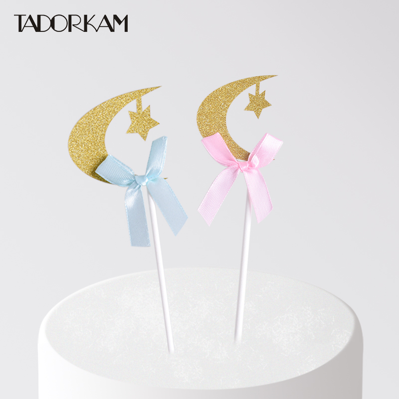 2pcs Moon Cake Cupcake Topper Bow Tie Star Cake Flag Happy Birthday Baby Shower Gender Revealing Party Cake Decorating Supplies