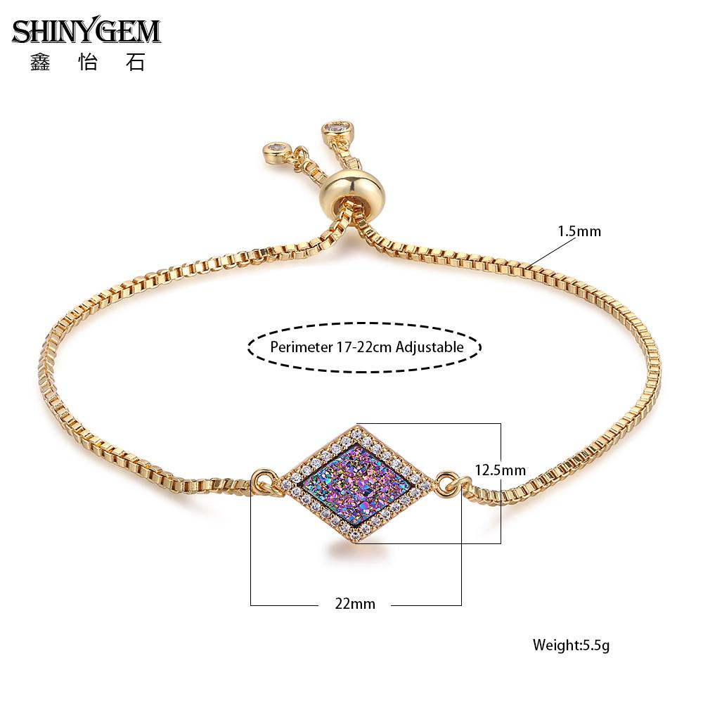 ShinyGem Square Rhombus Druzy Charm Bracelets Simple Adjustable Gold Chain Bracelets Pave CZ Sparkling Stone Bracelets For Women in Charm Bracelets from Jewelry Accessories
