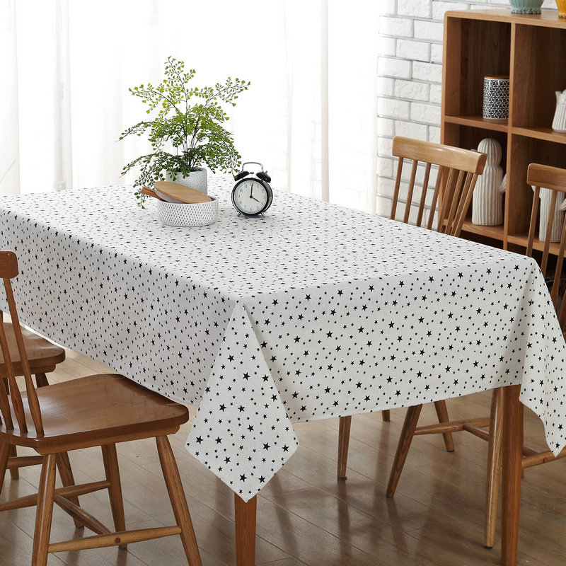 Modern Minimalist Black Star Canvas Tablecloths Restaurants Home Kitchen Hotel Wedding Party Table Cloth Towel