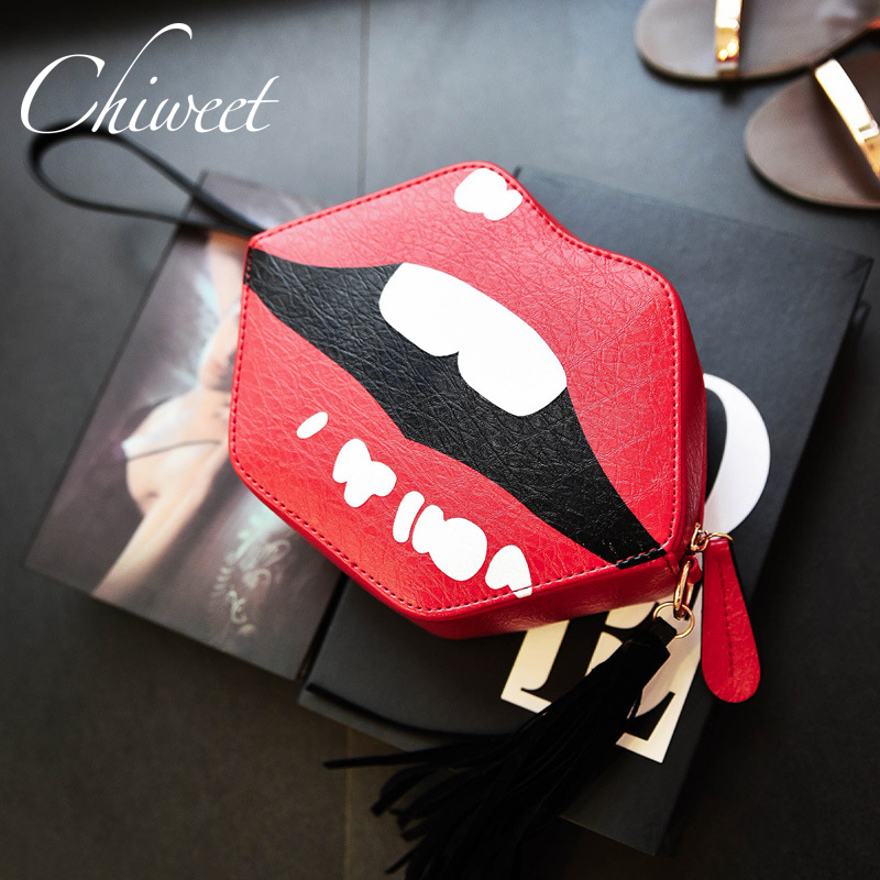 Novelty Funny Bag Women Brand Shoulder Bags Luxury Handbag PU Leather Bags Red Lips Clutch Purse Mini Crossbody Sweet Lolita Bag  women brand 2017 cactus shoulder bags girls cute novelty funny bag leather handbags mini crossbody bags design clutch messenger