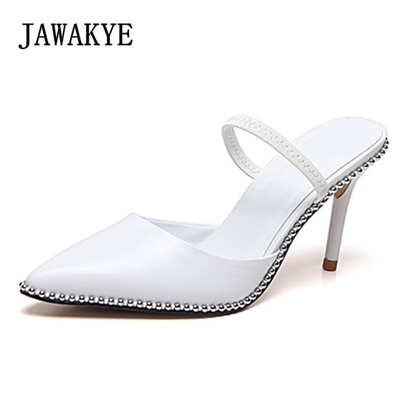 2018 Runway Sexy Shoes Women White Leather Gladiator Sandals Pointed Kitten High Heels Ladies Slingback elastic band Summer Shoe2018 Runway Sexy Shoes Women White Leather Gladiator Sandals Pointed Kitten High Heels Ladies Slingback elastic band Summer Shoe