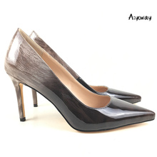 Aiyoway Spring Elegant Women Shoes Gradient Pointed Toe High Heel Pumps Office Work Party Dress Shoes Patent Leather Slip On krazing pot 2018 genuine leather spring women pumps solid round toe slip on low heel concise style office lady work shoes l25