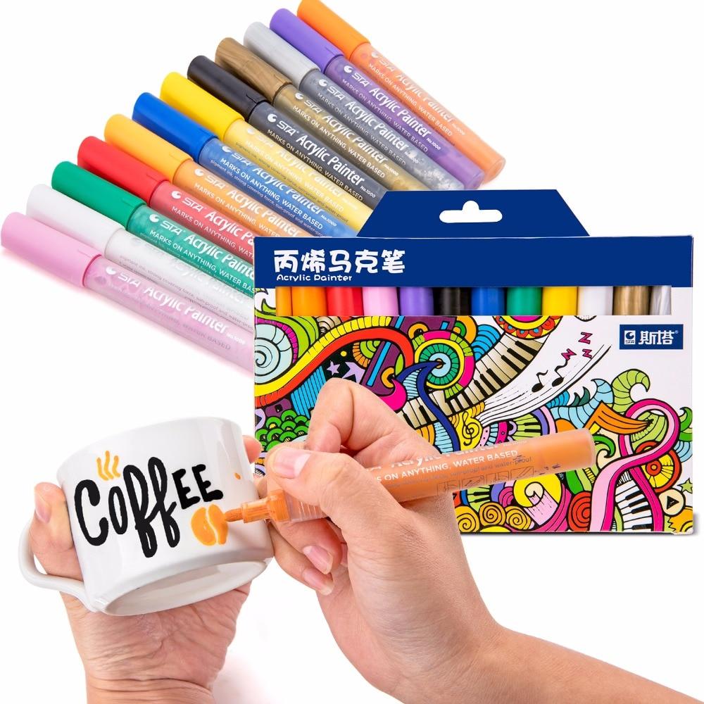 цена на STA 12/24Color Creative Acrylic Marker Pen, Highlighter Waterproof Hand DIY Paint Marker Pen for For Art Design School Supplier