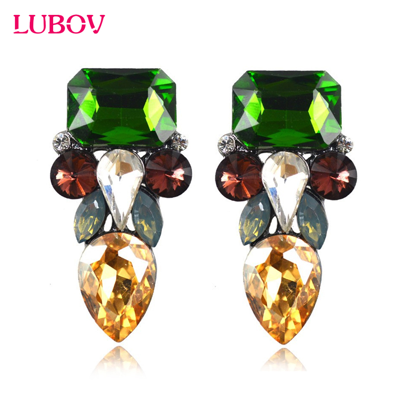 European American Style Multi Color Rhinestone Geometric Stud Earrings Unique Face Design Women Piercing Earrings Christmas Gift