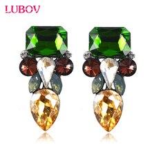 European American Style Multi Color Rhinestone Geometric Stud Earrings Unique Face Design Women Piercing Earrings Christmas Gift