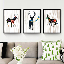 Nordic Deer Wearing Scarf Art Drawing Winter Scenery Wall Picture Minimalist Animal Canvas Mural Poster Bedroom