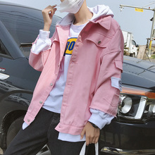 Wholesale 2020 Spring autumn pink denim cotton jacket men's