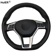 DIY Car Steering Wheel Cover Black Suede Cow Leather Volant For Mercedes Benz A Class 2013 2015 CLA Class 2013 2014 C Class 2013