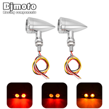 BJMOTO 2Pcs universal Motorcycle LED Turn Signal indicator Light lamp 10mm M10 Motocross Bike Arrow light